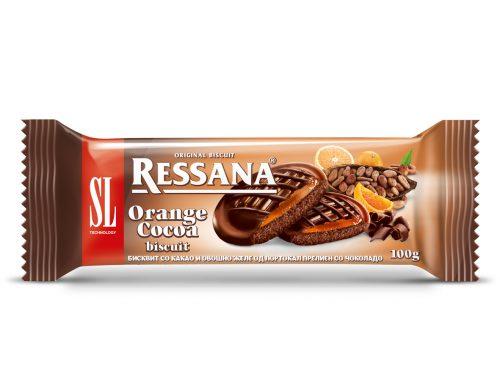 Ресана бисквит со какао,  желе од портокал и чоколаден прелив 100г